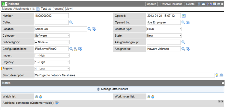 Incident Form in ServiceNow